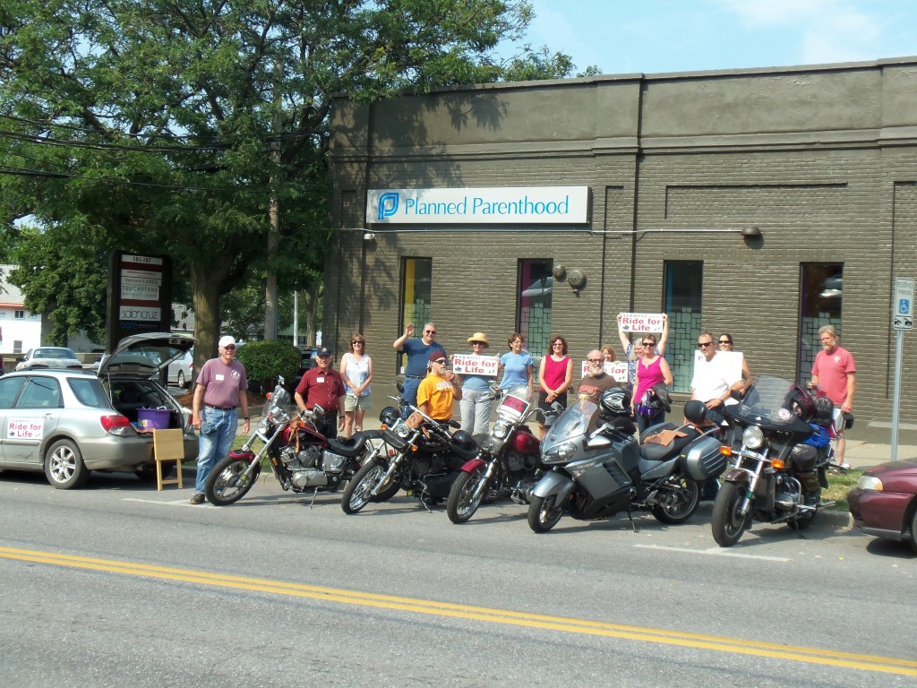 Pro-Life Harleys in front of Planned Parenthood